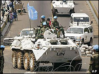 UN peacekeepers on tank in Liberian capital, Monrovia