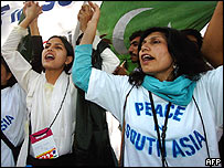 Pakistani women shout slogans for peace in South Asia at WSF in Bombay