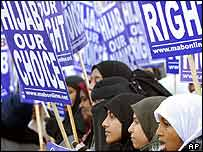London protest against headscarf law