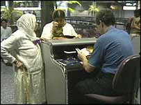 Immigrants at passport control