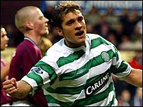 Stilian Petrov celebrates the game's only goal
