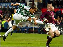 Petrov drives the ball past Craig Gordon