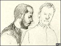Court sketch of Mijailo Mijailovic and attendant