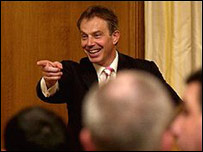 Tony Blair at his first televised monthly briefing