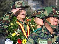 Jun Yong-il saluting