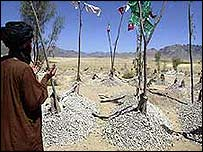 Graves of victims of an air attack in July 2002