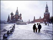 Red Square under snow   BBC