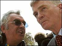 Max Mosley (right) talks with Renault's Flavio Briatore