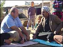 Alastair Leithead with an Arab settler