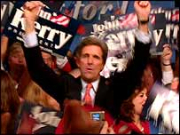 John Kerry thanks his supporters, Des Moines, Iowa