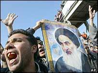 Protesta chi�ta de este lunes en Bagdad.