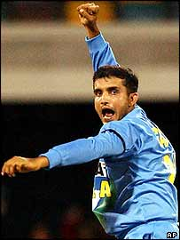 Sourav Ganguly takes a wicket