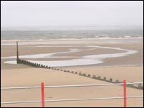 Beach in nearby resort of Rhyl