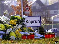 Flowers in Kaprun after the tragedy