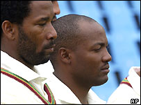 Corey Collymore and Brian Lara (right)