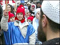 Muslim protesters in Paris
