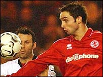 Mark Wilson (right) in action for Middlesbrough