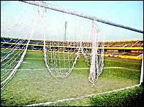 Ransacked Bangladesh football pitch
