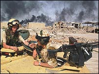UK troops during fighting around Basra