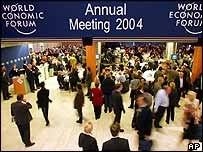 Forum participants gather at the World Economic Forum meeting