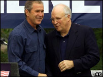 Bush and Cheney share a joke