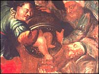 Detail of Jews draining the blood of a child
