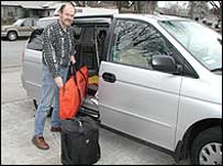 Steve packs his van