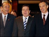 Jacques Chirac, Gerhard Schroeder y Tony Blair.