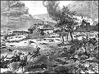 An 1882 'Illustrated London News' drawing of the aftermath of the Battle of Rorke's Drift