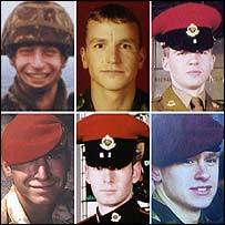 From top left: Sgt Simon Alexander Hamilton-Jewell; Cpl Russell Aston; Cpl Paul Graham Long; Cpl Simon Miller; L/Cpl Benjamin Hyde; L/Cpl Thomas Keys.
