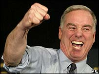 Howard Dean addressing supporters after his third-place finish in Iowa