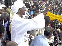 Vice-President Ali Osman Taha addressing crowds in Khartoum
