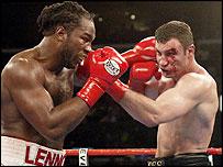 World Heavyweight Champion Lennox Lewis (left) punches Vladimir Klitschko