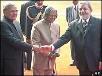 India's Prime Minister Vajpayee and President APJ Abdul Kalam greet Lula