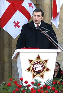 Mikhail Saakashvili at his swearing in