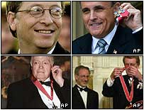 Clockwise from top left: Gates, Giuliani, Spielberg, Hope