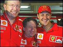 Ferrari technical director Ross Brawn, sporting director Jean Todt and Michael Schumacher