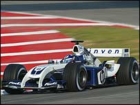 Juan Pablo Montoya tests the new Williams-BMW FW26