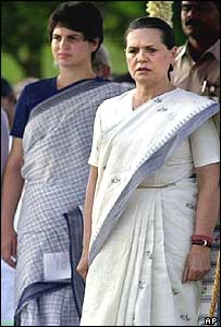 Priyanka (left) and Sonia Gandhi