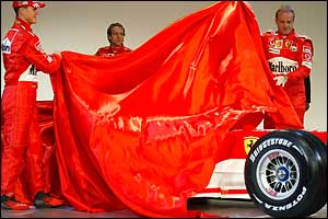 Michael Schumacher and Rubens Barrichello unveil the F2004