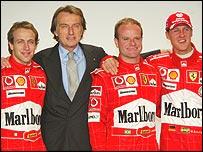 Ferrari test driver Luca Badoers, president Luca di Montezemolo, Rubens Barrichello and Michael Schumacher