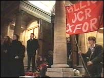The protest at the Examination School, Oxford University