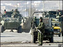 Canadian troops secure the attack site in Kabul