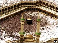 Pilgrims in the Kaaba inside the Grand Mosque
