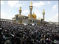 Shia Muslims at prayer in Baghdad