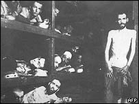Jewish deportees in the Auschwitz camp, Poland