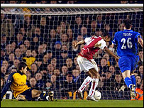 Thierry Henry rounds Carlo Cudicini and slots into the empty net