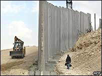 The security barrier being built by Israel