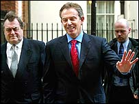 John Prescott and Tony Blair on their way to the debate