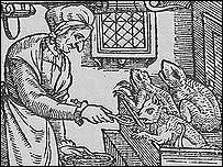 A woodcut of a witch feeding her familiars